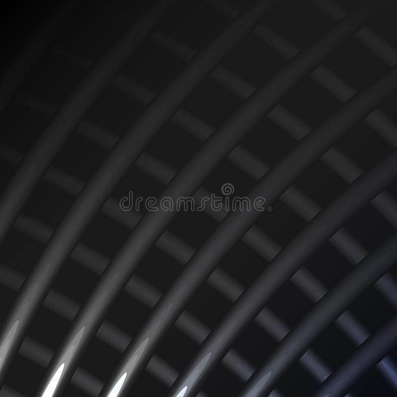 Beautiful black and white abstract magical energy electric cosmic fiery lattices of lines stripes, sticks, rods glittering glowing royalty free illustration