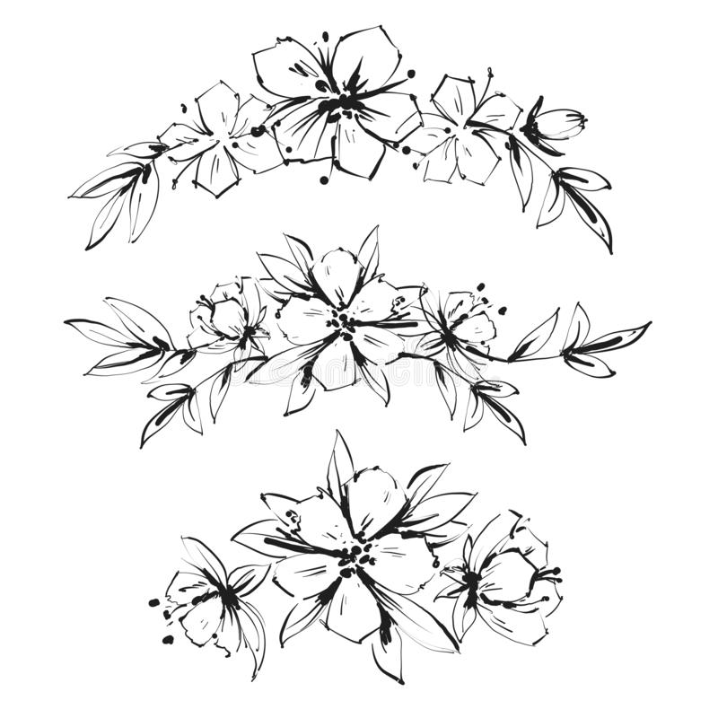 Beautiful black and white inky bouquet flower and leaves. Floral arrangements. design greeting card and invitation of royalty free illustration