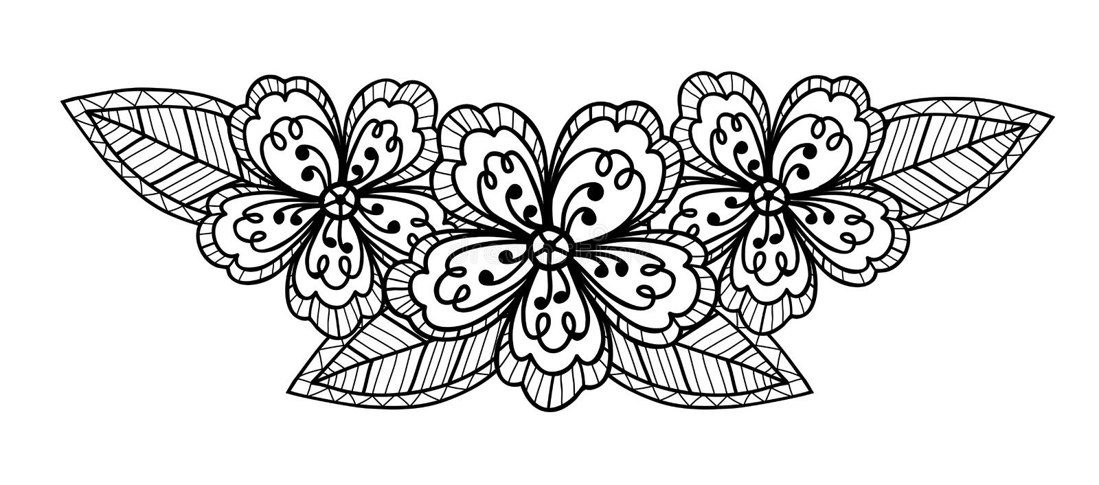 Beautiful black and white flower, hand drawing stock illustration