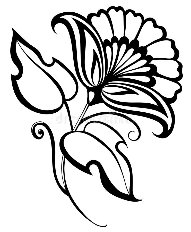 Set Of Black Flower Design Elements Royalty Free Stock: Beautiful Black And White Flower, Hand Drawing. Floral