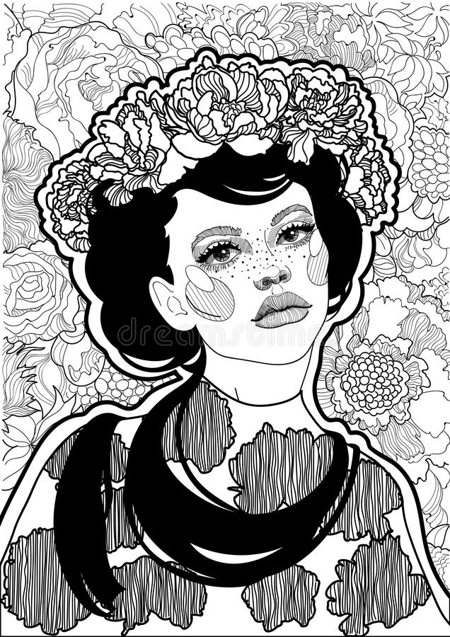 beautiful black and white girl with a floral wreath on her head vector illustration