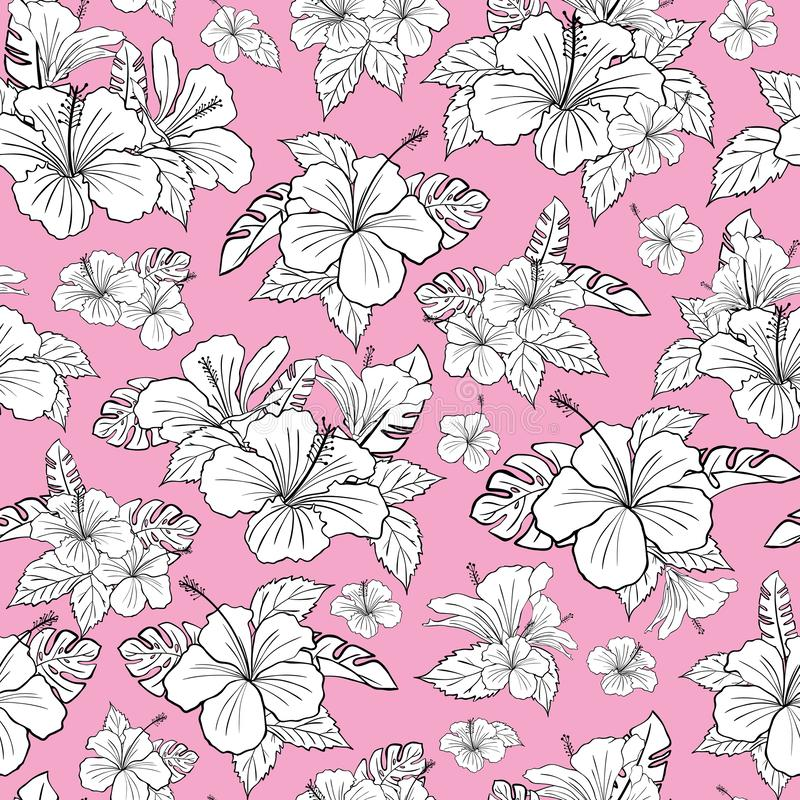 Beautiful black and white hibiscus tropical flower pattern vector. Pink background. Illustration. Beautiful black and white hibiscus tropical flower pattern vector illustration