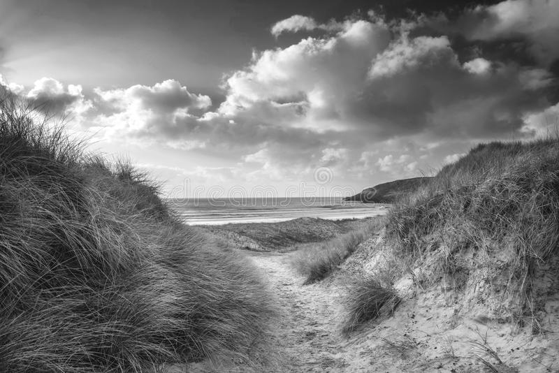 Beautiful black and white landscape image of Freshwater West be stock photography