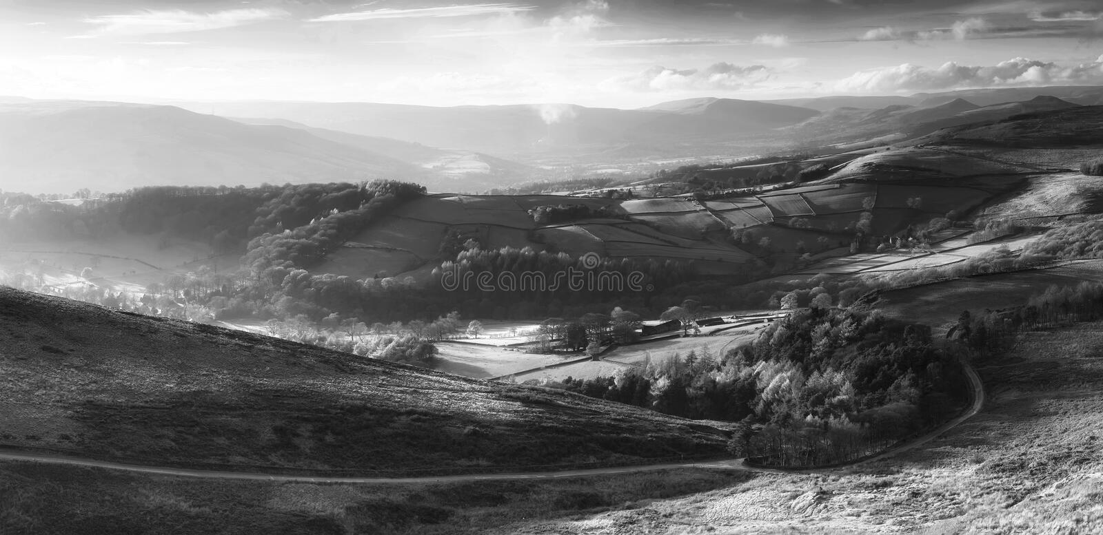 Beautiful black and white landscape view of Hope Valley in Peak. Black and white landscape view of Hope Valley in Peak District during autumn sunset stock image