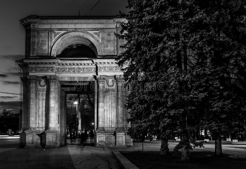 Beautiful black and white photo of the Triumph Arch in Chisinau, Moldova stock photography