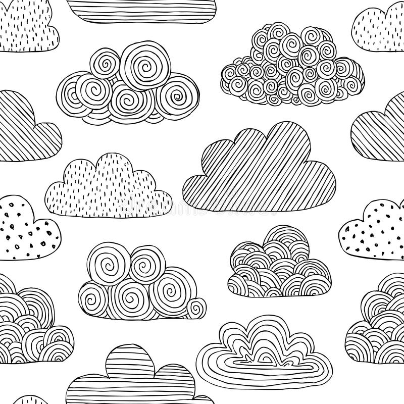 Beautiful Black And White Seamless Pattern Of Doodle Clouds Design