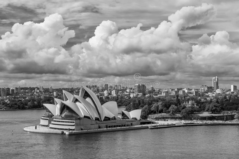 Beautiful black and white view of the Sydney Opera House, Australia, from the Harbour Bridge stock photography