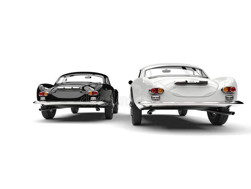 Beautiful black and white vintage sports cars - rear view stock illustration