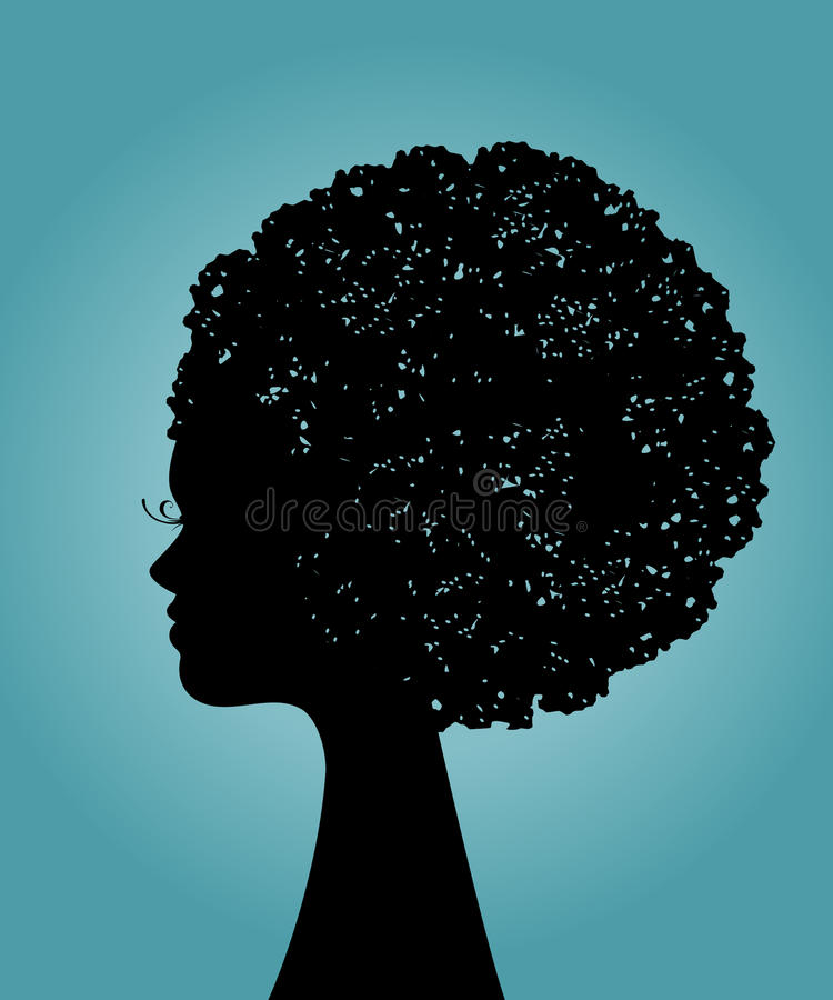Beautiful black woman profile vector illustration