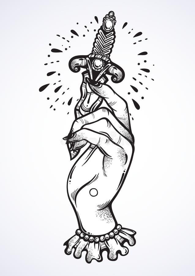 Beautiful blackwork tattoo design. Vintage woman`s hand holding a dagger. Dark romance. High-detailed vector artwork isolated. vector illustration