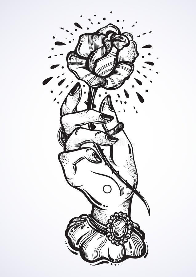 Beautiful blackwork tattoo design. Vintage woman`s hand holding rose flower. Dark romance. High-detailed vector artwork isolated. royalty free illustration