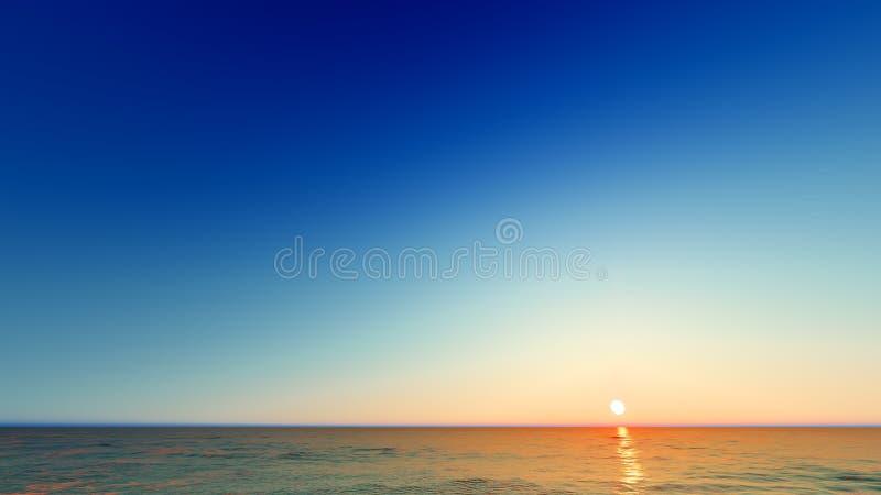 Beautiful blazing sunset landscape at sea 3D rendering. Beautiful blazing sunset landscape at blue sea 3D rendering stock image