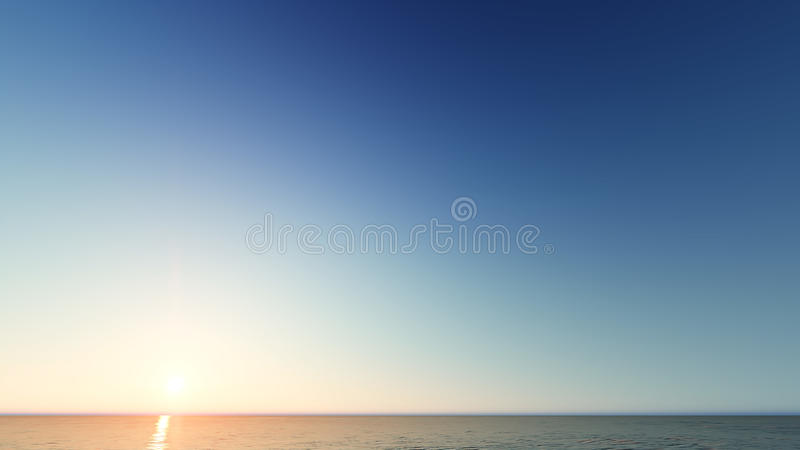 Beautiful blazing sunset landscape at sea 3D rendering. Beautiful blazing sunset landscape at blue sea 3D rendering royalty free stock photo