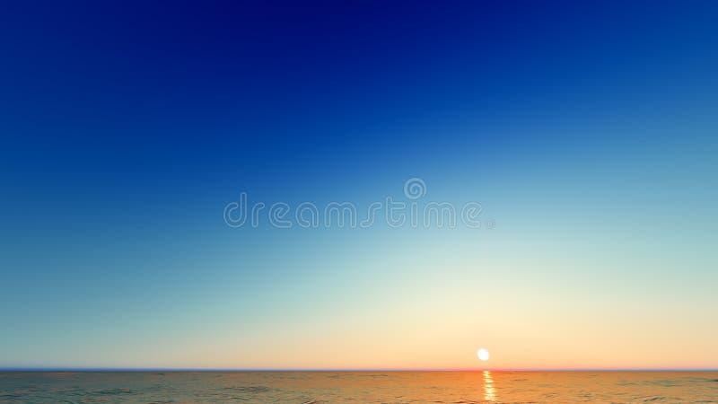 Beautiful blazing sunset landscape at sea 3D rendering. Beautiful blazing sunset landscape at blue sea 3D rendering stock photos
