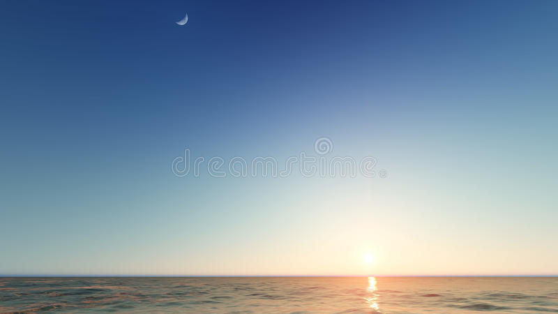 Beautiful blazing sunset landscape at sea 3D rendering. Beautiful blazing sunset landscape at blue sea 3D rendering royalty free stock images