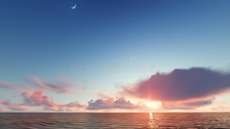Beautiful blazing sunset landscape at sea 3D rendering. Beautiful blazing sunset landscape at blue sea 3D rendering royalty free stock image