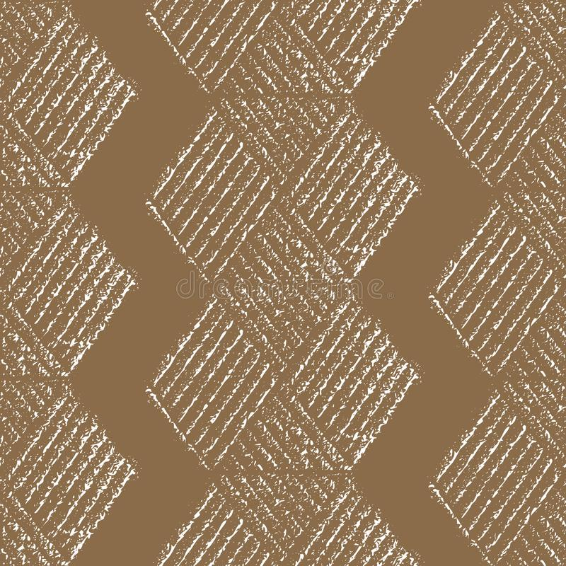 Beautiful block print style honeycomb hexagonal design. Seamless tribal vector pattern on eco paper colour background stock illustration