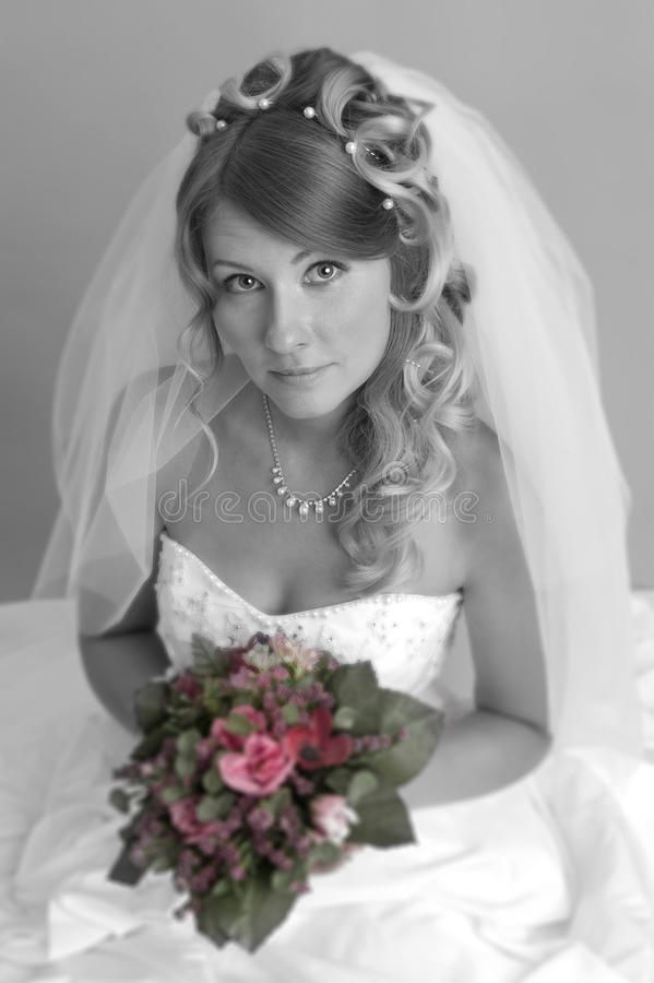 Download Beautiful blond bride stock photo. Image of face, gown - 26063938