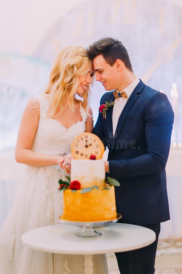 Beautiful blond bride and groom cut the wedding cake together stock image