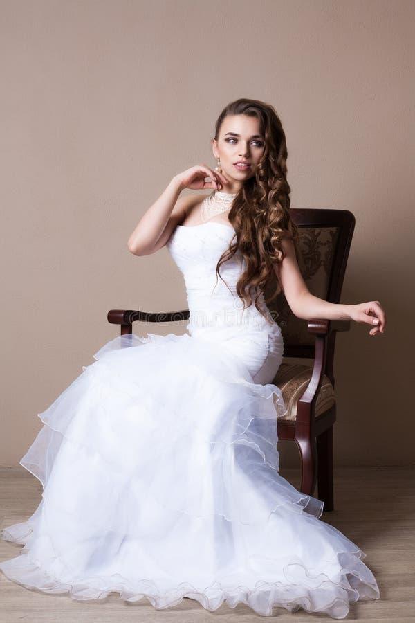 Beautiful blond bride portrait in studio royalty free stock photo