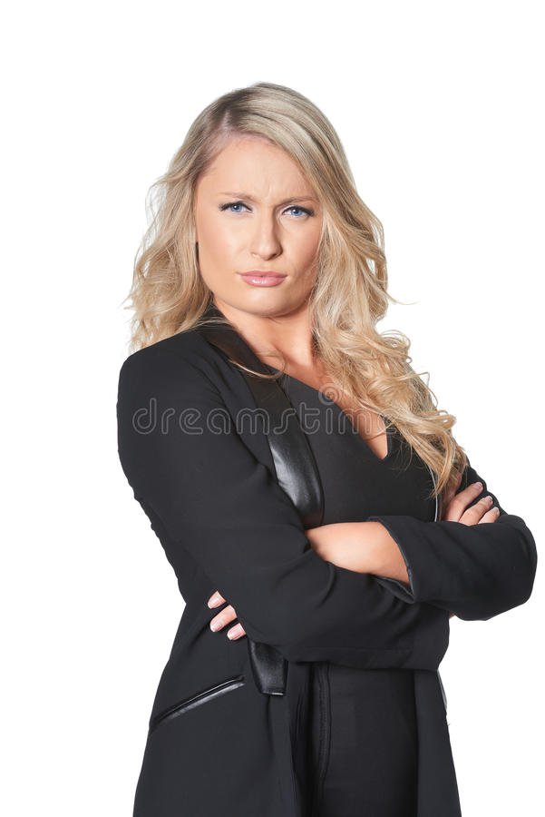 Beautiful blond busines woman giving disapproving look, isolated royalty free stock images