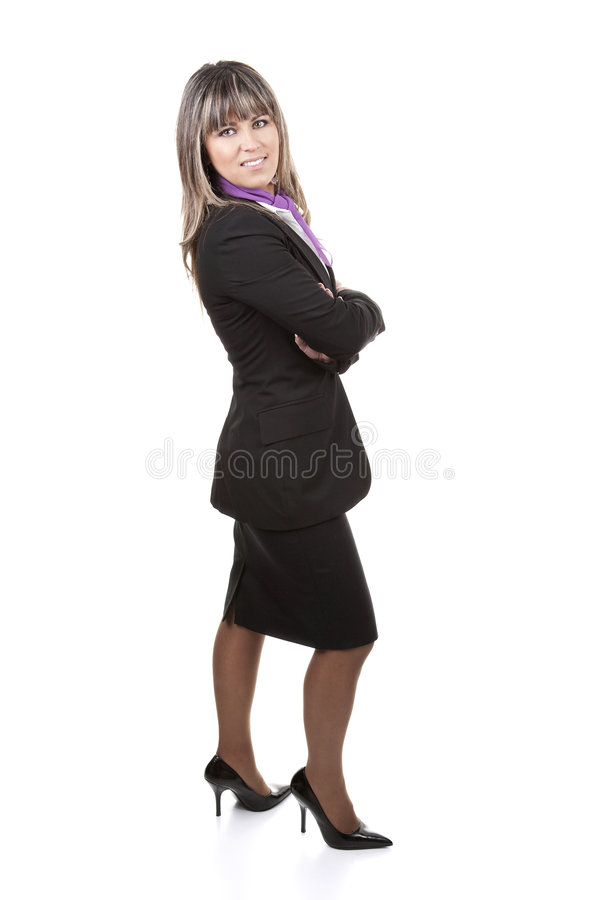 Beautiful blond businesswoman wearing formal suit. Isolated on white background stock photos