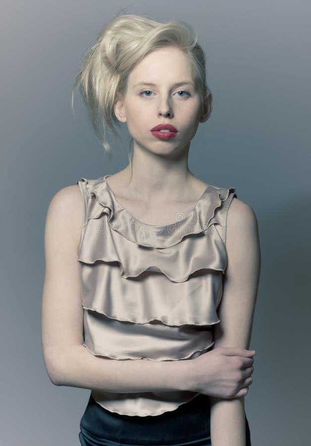 Beautiful blond fashion girl royalty free stock photos