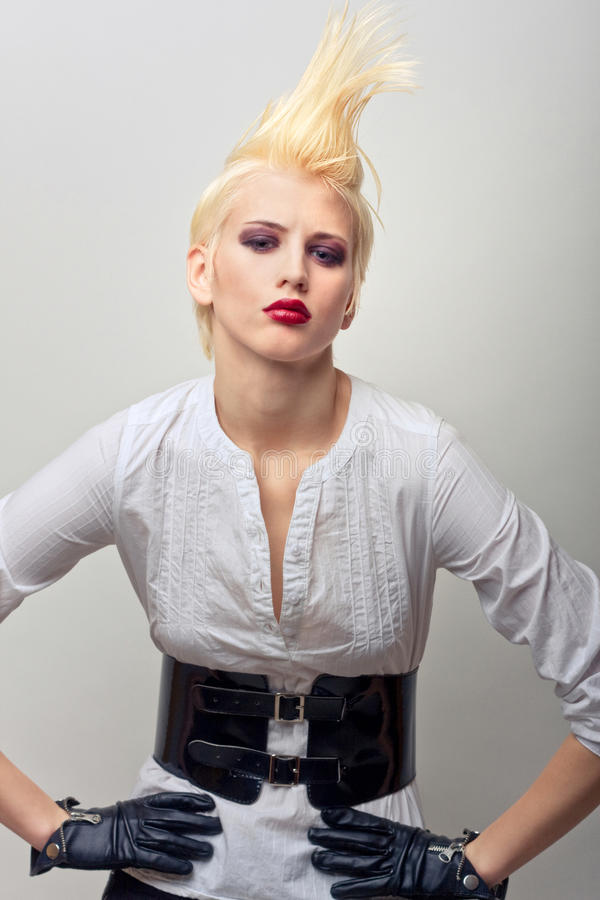 Download Beautiful Blond Fashion Girl With Red Lips Stock Photo - Image: 18474806