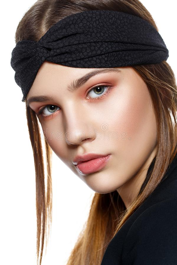 Beautiful blond girl with dark makeup stock image