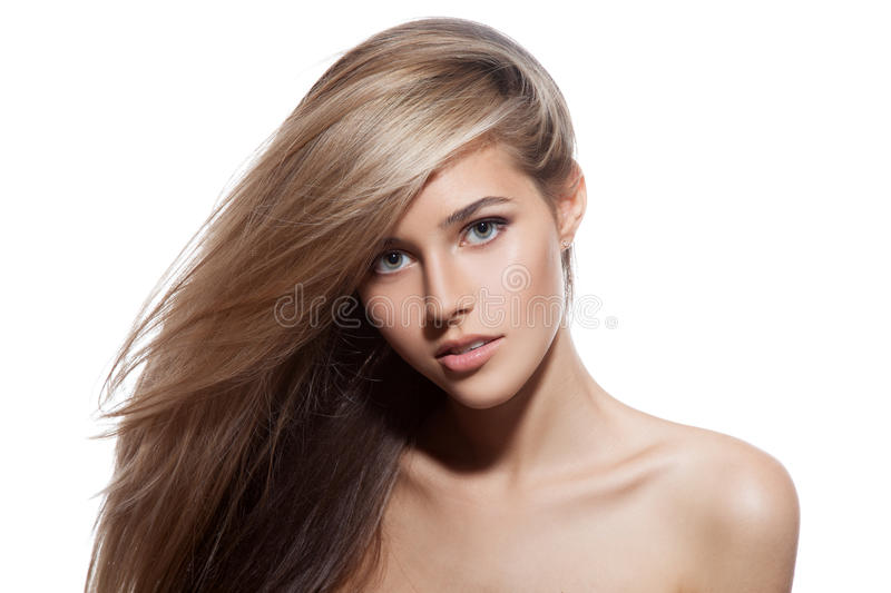 Beautiful Blond Girl Healthy Long Hair White Background