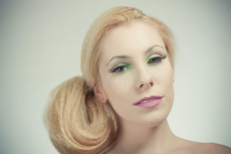 Download Beautiful Blond Girl, Joyful Color Makeup Stock Image - Image of avant, clean: 19172597