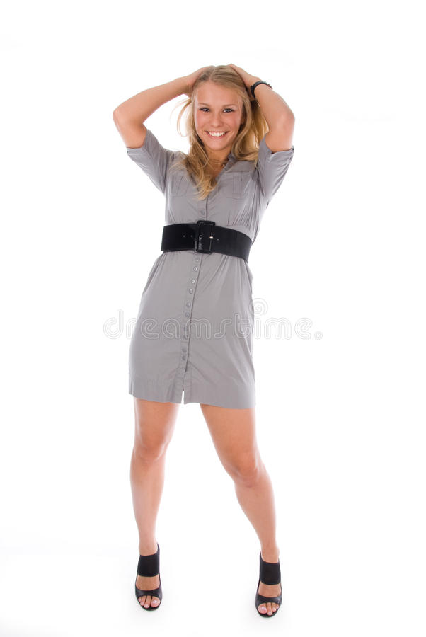 Beautiful blond girl smiling stock photos