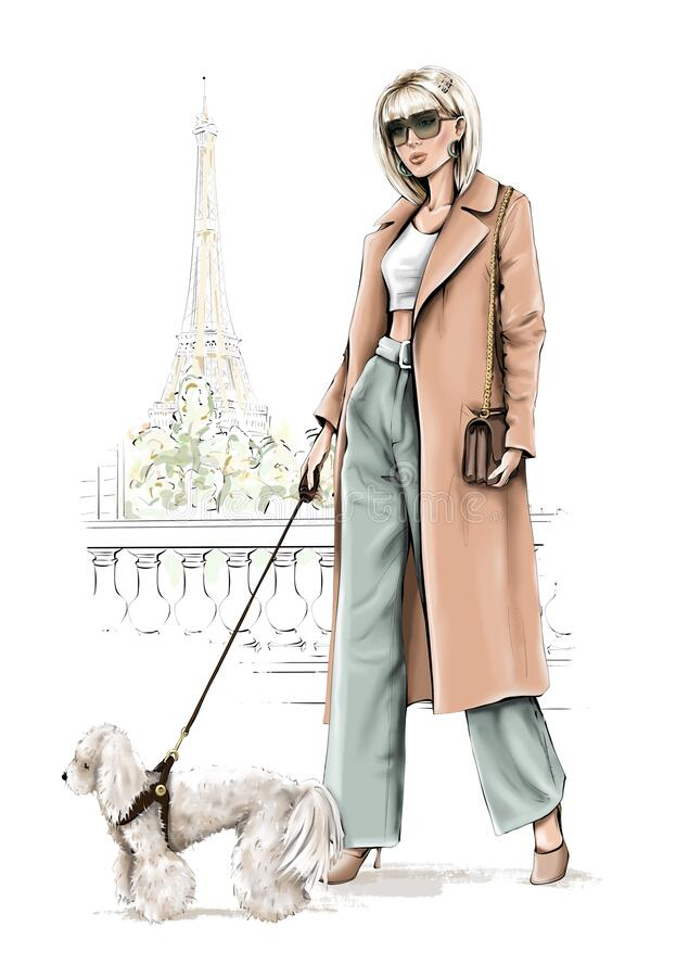 Free Beautiful Blond Hair Girl With Dog. Fashion Girl With Eiffel Tower Background. Stylish Woman In Coat In Paris City. Royalty Free Stock Images - 215099339