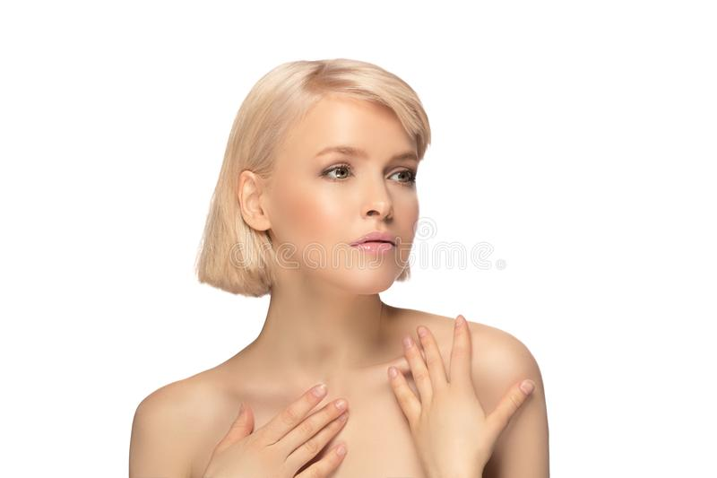 Beautiful blond hair woman royalty free stock image