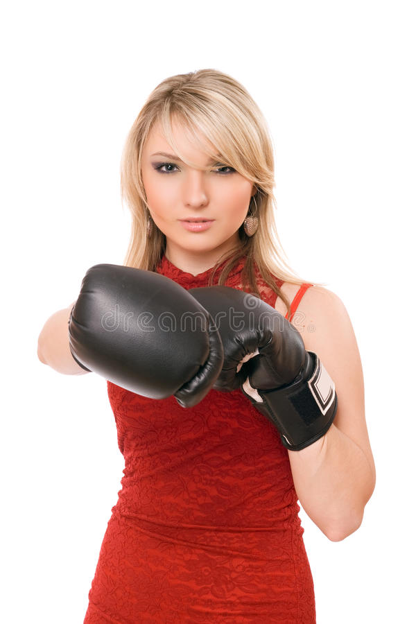 Free Beautiful Blond Lady In Boxing Gloves Royalty Free Stock Images - 30120549