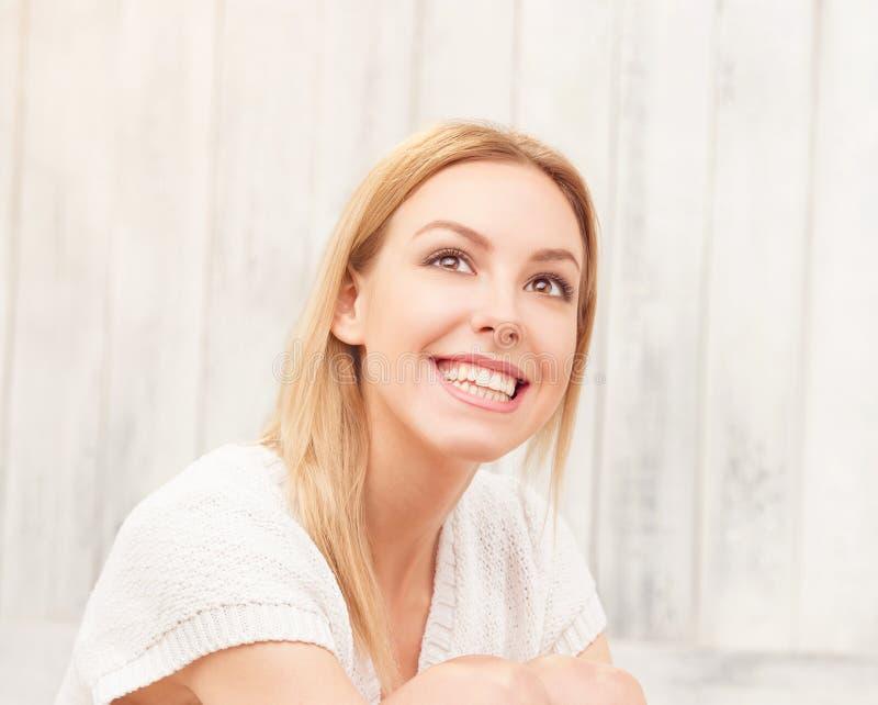 Beautiful blond lady posing stock image