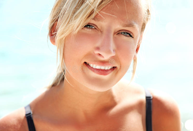 Beautiful blond lady smiling stock photography