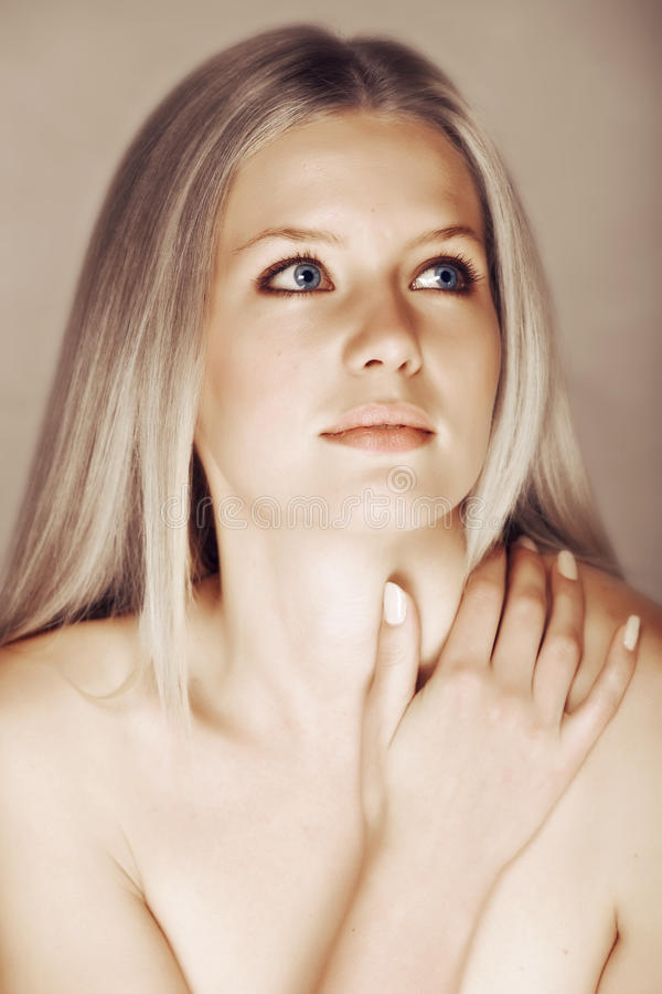 Beautiful blond woman royalty free stock photography