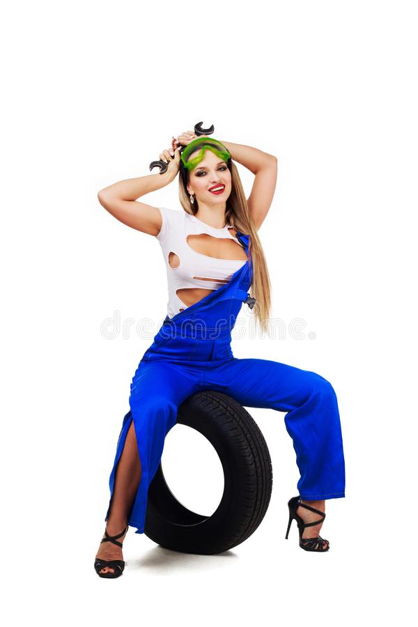 Woman car mechanic royalty free stock images