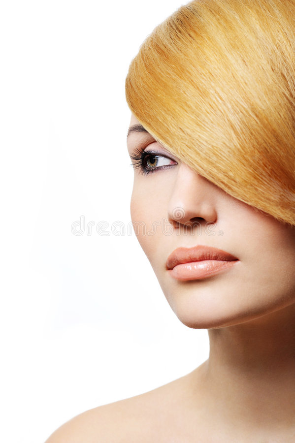Beautiful blond woman - creativity hairstyle stock image