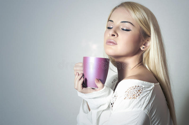 Download Beautiful Blond Woman Drinking Coffee.Sweet Girl In The Morning Stock Image - Image of caucasian, closeup: 39595643