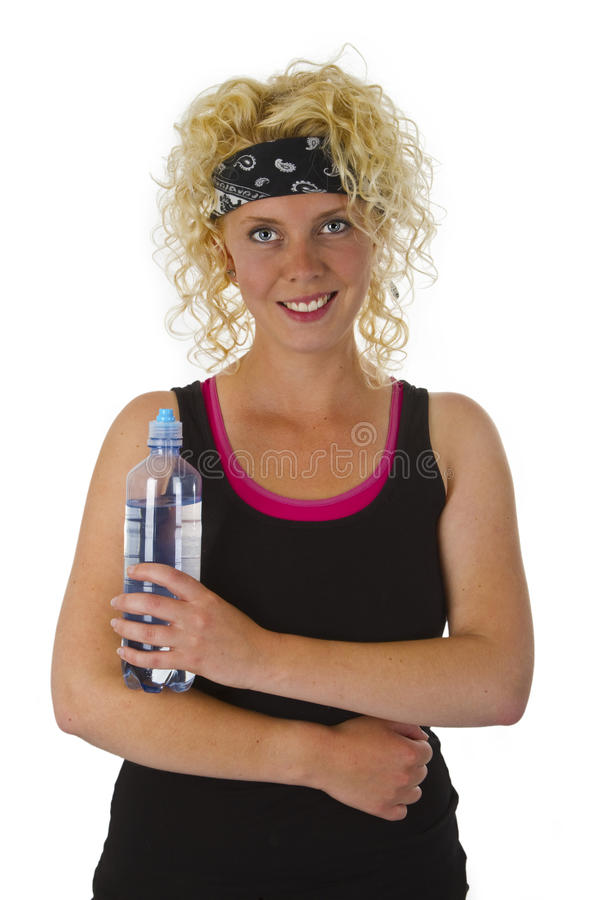 Download Beautiful Blond Woman Holding Bottle Of Water Stock Image - Image: 25768921