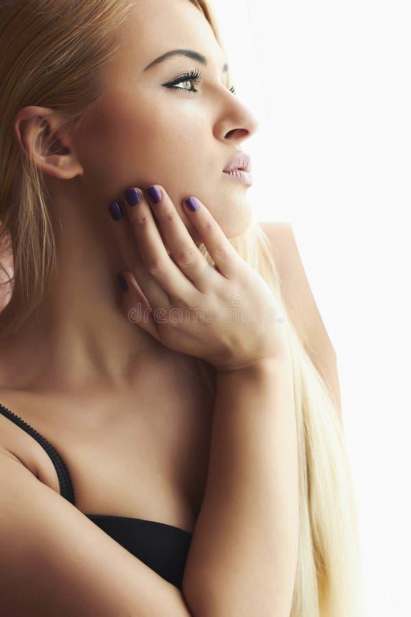 Beautiful Blond Woman Looking in Morning Window. Pure Beauty Model. Sweet Lovely Girl in Underwear royalty free stock photos