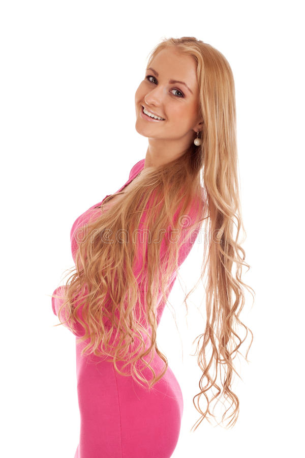 Download Beautiful Blond Woman In Pink Dress Stock Image - Image: 27911437