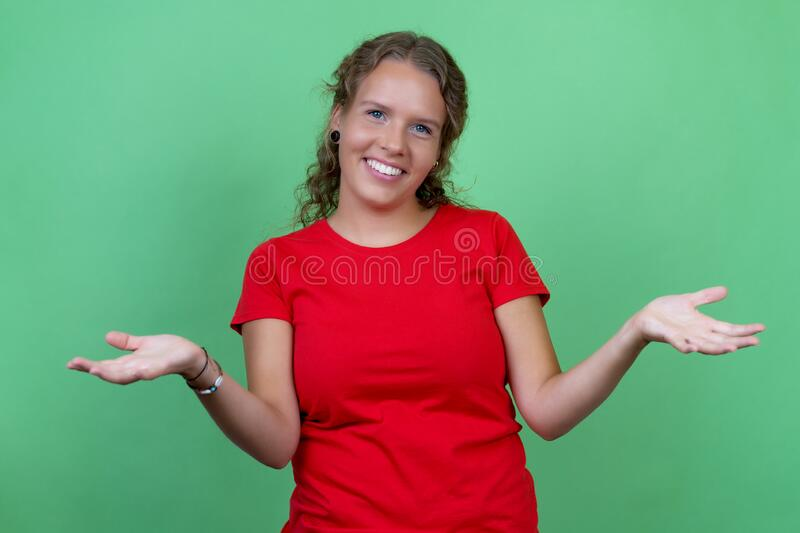 Beautiful blond woman with red shirt stock photos
