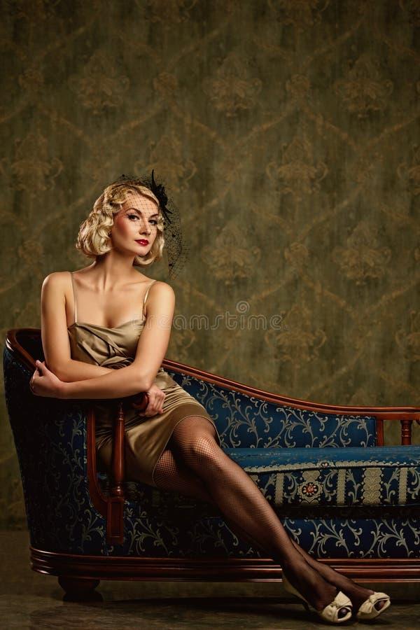 Download Beautiful Blond Woman Retro Portrait. Stock Photography - Image: 19915922