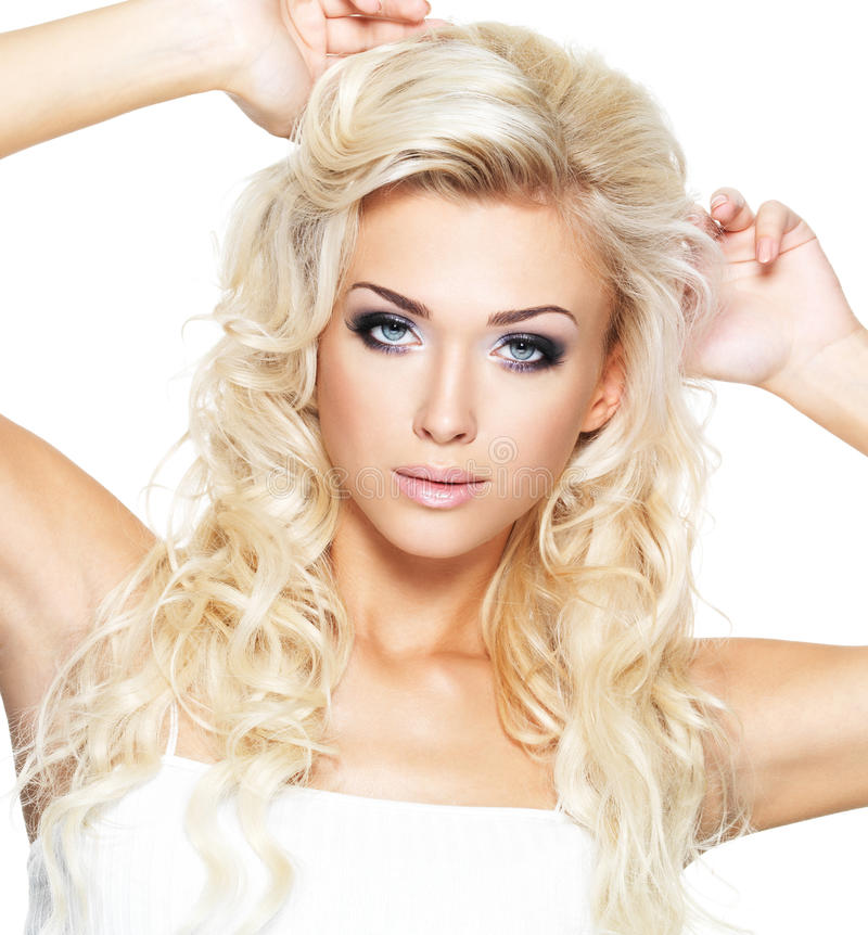 Beautiful Blond Woman With Saturated Makeup. Royalty Free