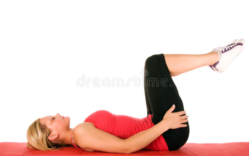 Beautiful blond women exercising stock images