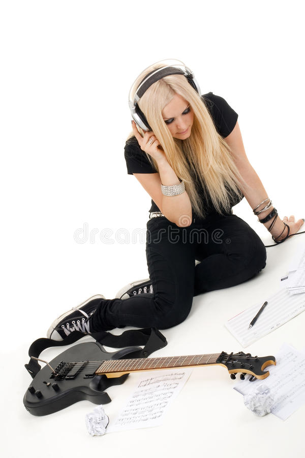 Beautiful blonde with amp royalty free stock images