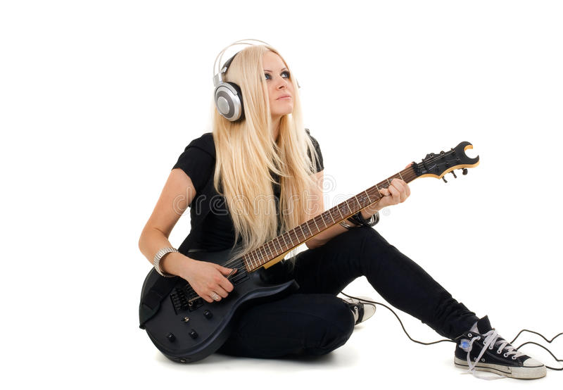Beautiful blonde with amp stock photos